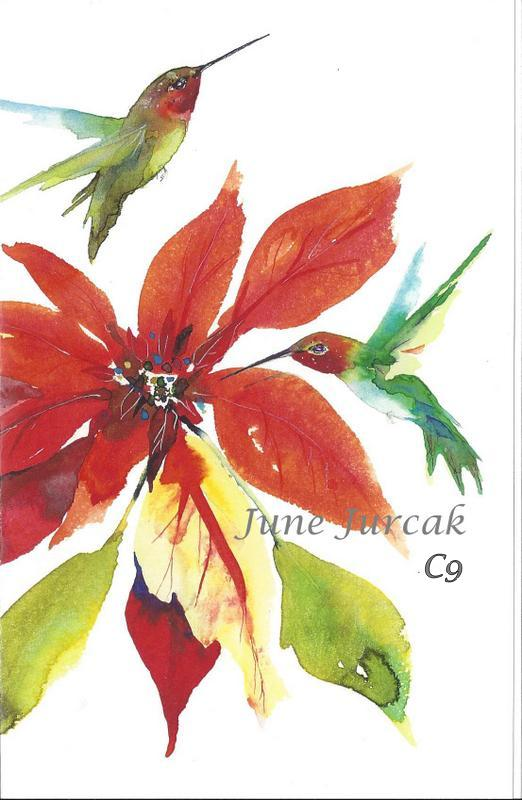 June jurak greeting cards holidaybulk art framing center of xcpoinsettia m4hsunfo
